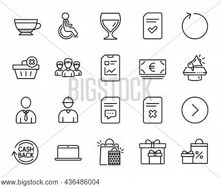 Vector Set Of Loop, Megaphone And Delete Order Line Icons Set. Laptop, Forward And Wine Glass Icons.
