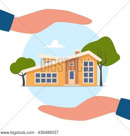 Home Insurance Concept. Hands Protecting House From Danger. Real Estate Insurance. Advertising Of In