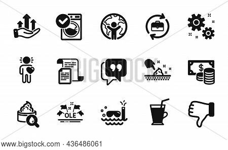 Vector Set Of Global Business, Work And Scuba Diving Icons Simple Set. Ole Chant, Human Resources An