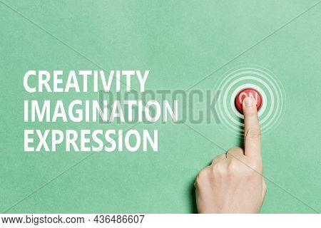A Person Hand Pushing Red Button - Switch On Or Turn On Creativity, Imagination, Expression