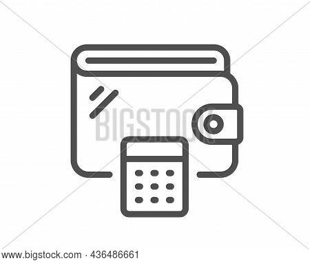 Wallet Line Icon. Money Purse With Calculator Sign. Cash Budget Symbol. Quality Design Element. Line