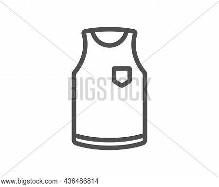 T-shirt Line Icon. Sleeveless Tee Shirt Wear Sign. Fabric Sport Clothes Symbol. Quality Design Eleme