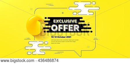 Exclusive Offer Text. Quote Chat Bubble Background. Sale Price Sign. Advertising Discounts Symbol. E
