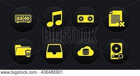Set Delete Folder, File Document, Social Media Inbox, Cloud Database, Stereo Speaker And Music Note,