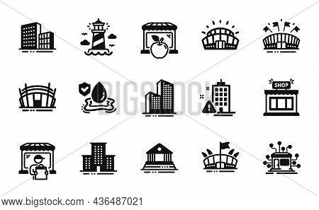 Vector Set Of Court Building, Market And Distribution Icons Simple Set. Lighthouse, Buildings And Ar