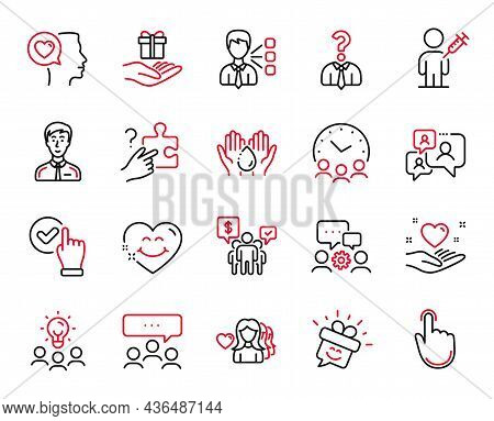 Vector Set Of People Icons Related To Hand Click, Smile And Support Chat Icons. Checkbox, Businessma
