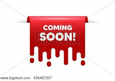 Coming Soon Text. Red Ribbon Tag Banner. Promotion Banner Sign. New Product Release Symbol. Coming S