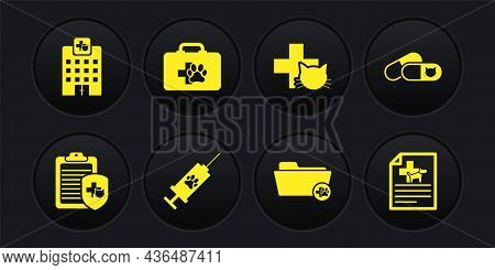 Set Clinical Record Pet, Cat And Pills, Syringe With Vaccine, Medical Veterinary Folder, Veterinary