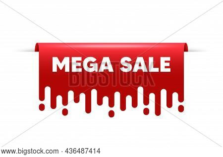 Mega Sale. Red Ribbon Tag Banner. Special Offer Price Sign. Advertising Discounts Symbol. Mega Sale