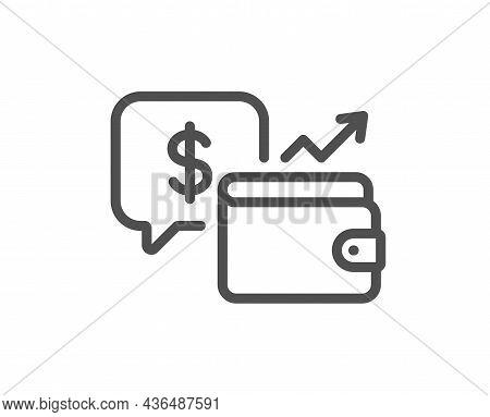 Wallet Line Icon. Money Savings Sign. Cash Budget Symbol. Quality Design Element. Line Style Wallet