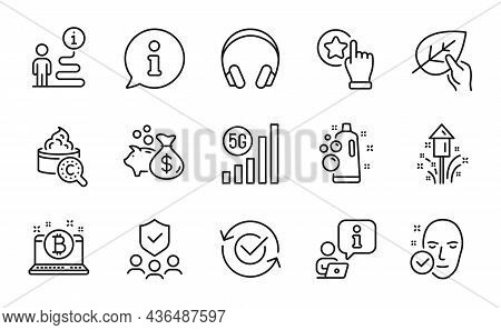Business Icons Set. Included Icon As Collagen Skin, Loan, Bitcoin Signs. Fireworks, Security Agency,