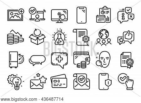 Vector Set Of Face Search, Smartphone And Money Loss Line Icons Set. Calendar Report, Money Wallet A