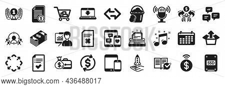 Set Of Simple Icons, Such As Sponge, Chat Messages, Musical Note Icons. Typewriter, Sync, Crowdfundi