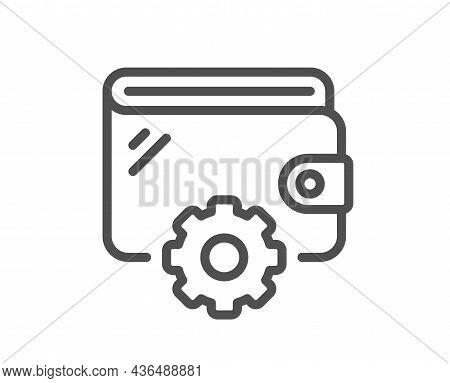 Wallet Line Icon. Money Purse With Cogwheel Sign. Cash Budget Symbol. Quality Design Element. Line S