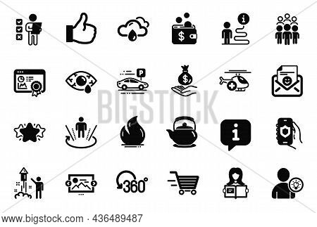 Vector Set Of Business Icons Related To Teapot, Like And Fireworks Icons. Delivery Shopping, Voting