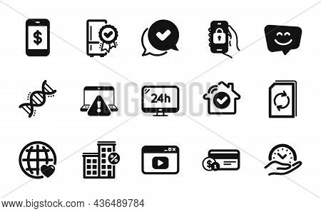 Vector Set Of Safe Time, Loan House And Smartphone Payment Icons Simple Set. Payment Method, Certifi