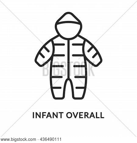 Baby Snowsuit Flat Line Icon. Vector Illustration Infant Overall.