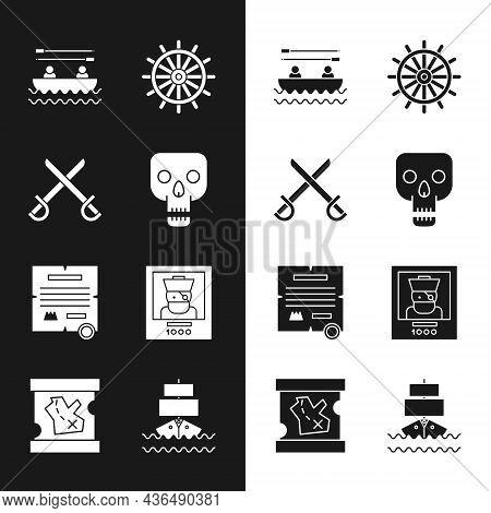 Set Skull, Crossed Pirate Swords, Boat With Oars, Ship Steering Wheel, Decree, Parchment, Scroll, Wa