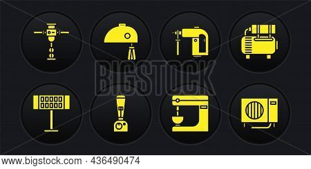 Set Electric Heater, Air Compressor, Blender, Mixer, Rotary Hammer Drill Machine And Icon. Vector