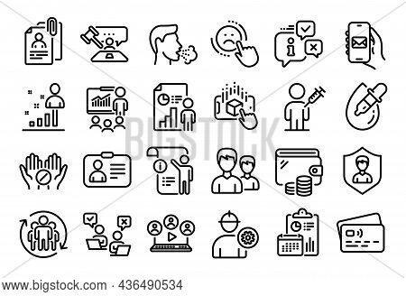 Vector Set Of Online Voting, Eye Drops And Security Agency Line Icons Set. Calendar Report, Money Wa