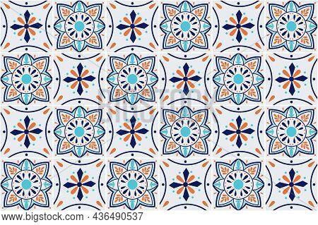 Talavera Seamless Pattern. Ceramic Tableware, Folk Print. Azulejos Portugal. Turkish Ornament. Moroc