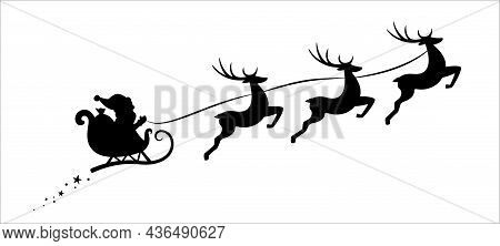 Silhouette Of Santa Claus Riding In A Sleigh With Three Flying Reindeers. Holiday Season Symbol - Ch