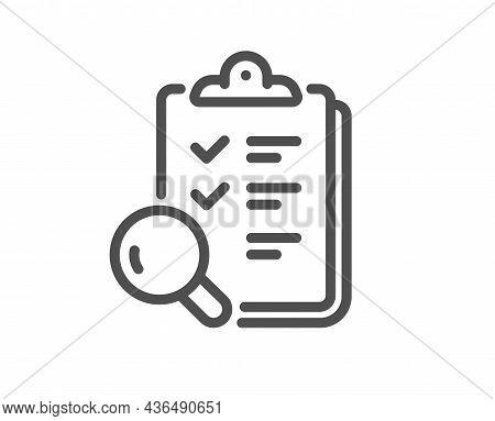 Inspect Line Icon. Quality Research Sign. Verification Review List Symbol. Quality Design Element. L
