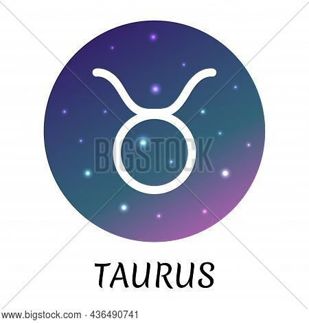 Zodiac Sign Taurus Isolated. Vector Icon. Zodiac Symbol With Starry Gradient Design. Astrological El