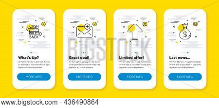 Vector Set Of Upload, Cashback Card And New Mail Line Icons Set. Ui Phone App Screens With Line Icon