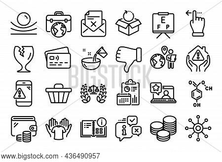 Vector Set Of House Protection, Elastic Material And Online Rating Line Icons Set. Calendar Report,