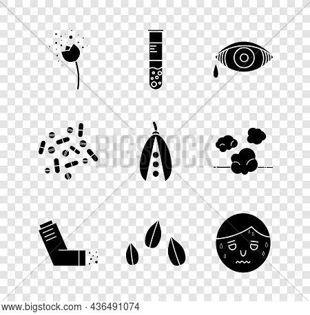 Set Flower Producing Pollen, Test Tube And Flask, Reddish Eye Allergic Conjunctivitis, Inhaler, Sesa
