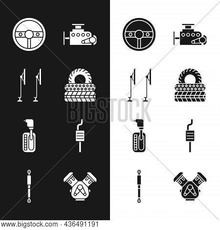 Set Car Tire, Windscreen Wiper, Steering Wheel, Engine, Gear Shifter, Muffler, And Shock Absorber Ic