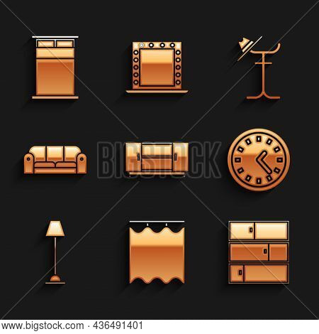 Set Tv Table Stand, Curtains, Shelf, Clock, Floor Lamp, Sofa, Coat And Big Bed Icon. Vector