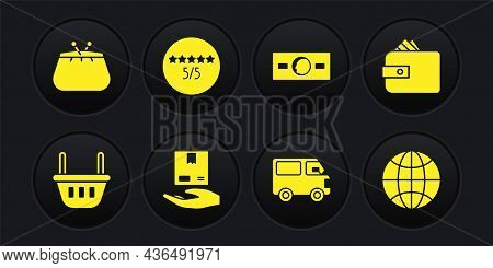 Set Shopping Basket, Wallet With Paper Money Cash, Delivery Hand Boxes, Cargo Truck Vehicle, Paper,