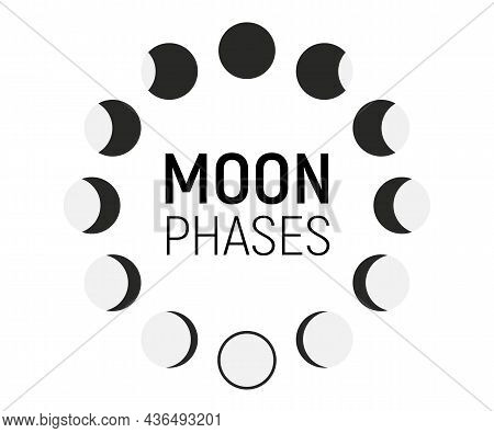 Set Of Moon Phases Icons. Moon Phase. The Shape Of The Sun When The Solar Eclipse Occurs. Night Spac