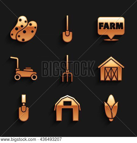 Set Garden Pitchfork, Farm House, Corn, Trowel Spade Shovel, Lawn Mower, Location Farm And Potato Ic