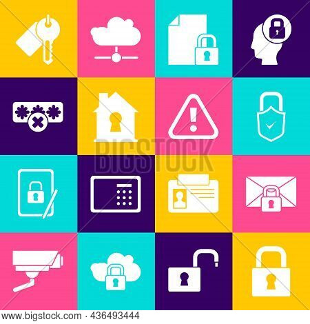Set Lock, Mail Message Lock Password, And Check Mark, Document, House Under Protection, Password, Ma