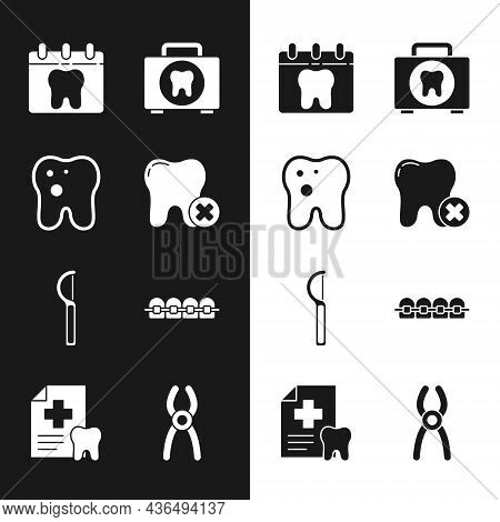 Set Tooth With Caries, Calendar Tooth, First Aid Kit, Dental Floss, Teeth Braces, Pliers And Card Ic