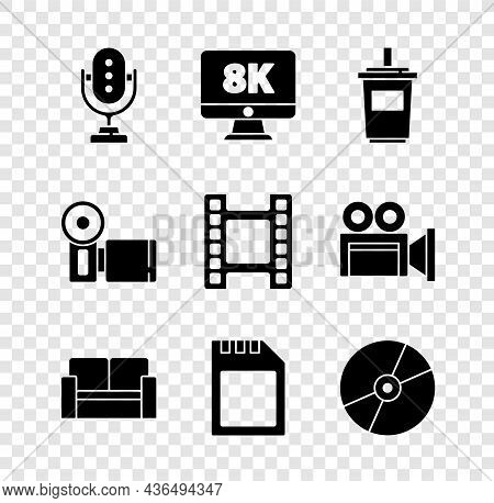 Set Microphone, Monitor With 8k, Paper Glass Water, Cinema Chair, Sd Card, Cd Dvd Disk, Camera And P