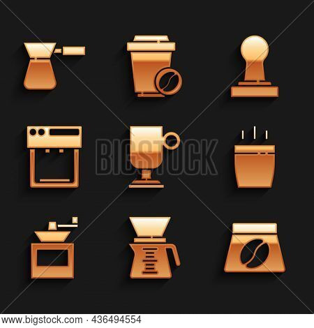 Set Irish Coffee, Pour Over Maker, Bag Beans, Coffee Cup, Manual Grinder, Machine, Tamper And Turk I