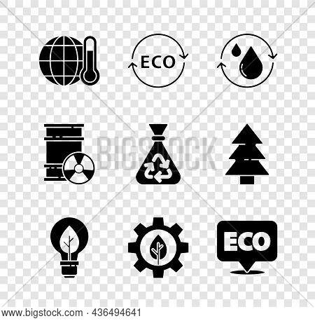 Set Global Warming, Label For Eco Healthy Food, Recycle Clean Aqua, Light Bulb With Leaf, Leaf Plant