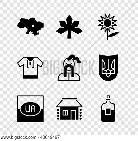 Set Map Of Ukraine, Chestnut Leaf, Sunflower, Flag, Ukrainian House, Bottle Vodka, Embroidered Shirt
