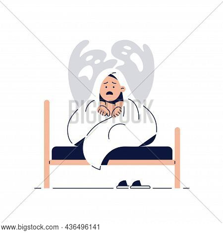 Nightmares In Children Vector Illustration. Scared Little Boy Is Hiding Under Blanket From Ghost, Fr