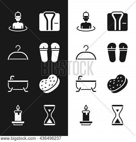 Set Flip Flops, Hanger Wardrobe, Man In The Sauna, Bathrobe, Bathtub, Sponge, Sauna Hourglass And Ar