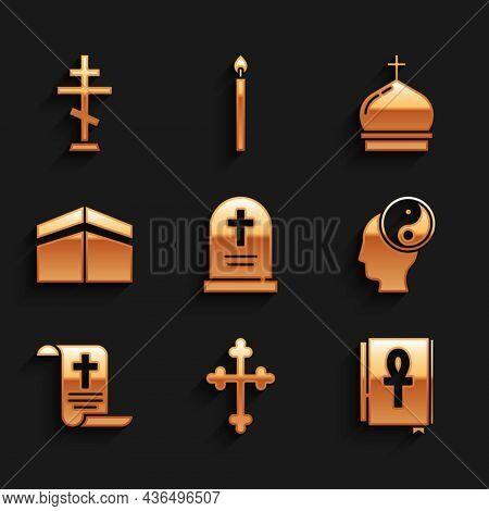 Set Tombstone With Cross, Christian, Cross Ankh Book, Yin Yang, Decree, Paper, Parchment, Scroll, Ka