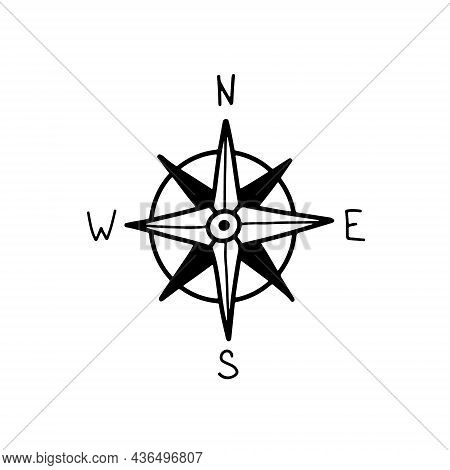 Compas Icon Hand Drawn Isolated On White Background. Doodle Geography Symbol. Compass Signs, Logo. V