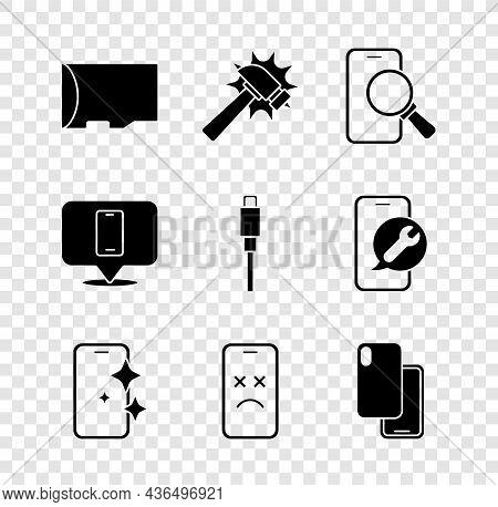 Set Micro Sd Memory Card, Hammer, Phone Repair Service, Glass Screen Protector, Dead Mobile, Smartph