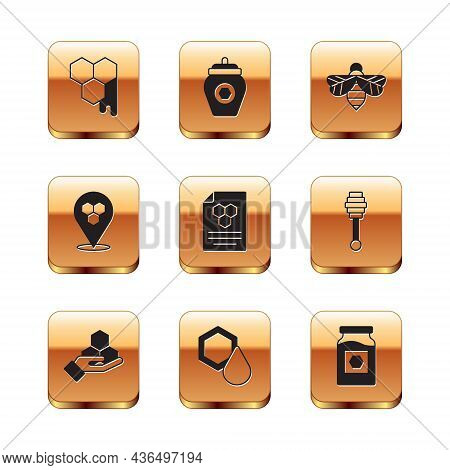 Set Honeycomb, And Hand, Bee Location, Bee, Jar Of Honey And Icon. Vector
