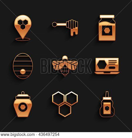 Set Bee, Honeycomb, Jar Of Honey, Online Service, Hive For Bees, And Location Icon. Vector