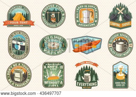 Summer Camp With Design Elements. Vector Illustration. Camping And Outdoor Adventure Emblems. Typogr